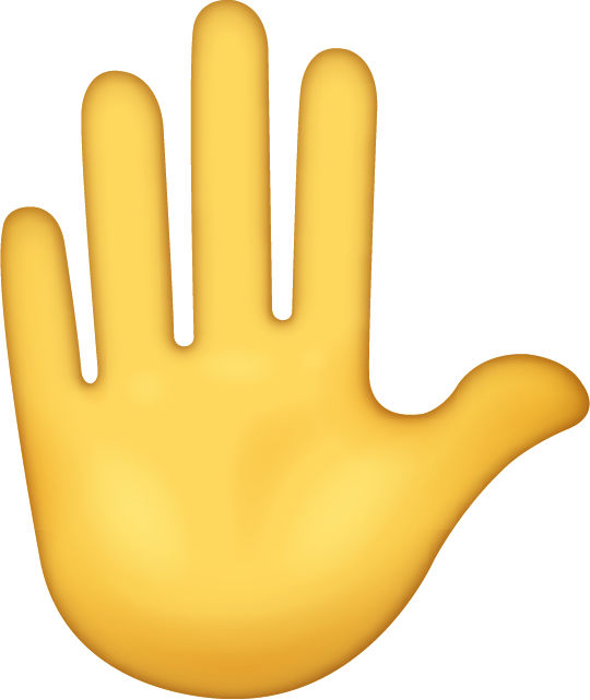 Raised Hand Emoji [Free Download iPhone Emojis] Icon Free Photo PNG Image